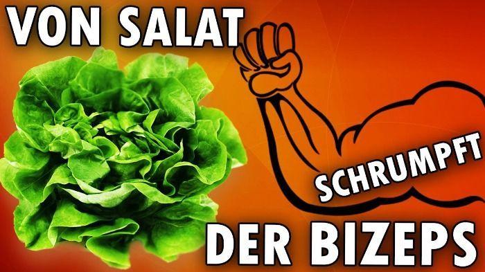 Von Salat schrumpft der Bizeps!