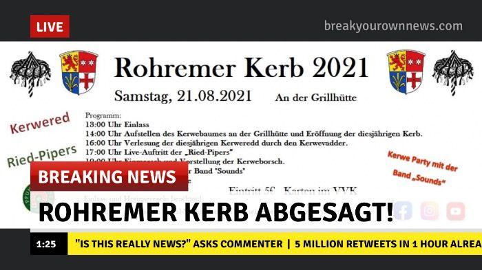 Rohremer Kerb 2021 wird abgesagt!